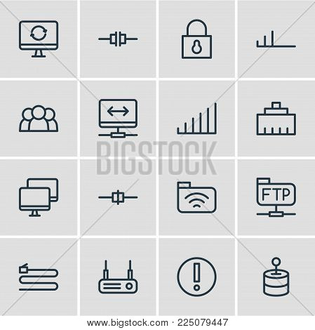 Vector illustration of 16 internet icons line style. Editable set of users, vpn, file transfer protocol and other icon elements.