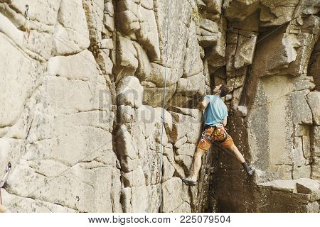 Climber To Climb A Big Wall.climber To Climb A Big Wall.
