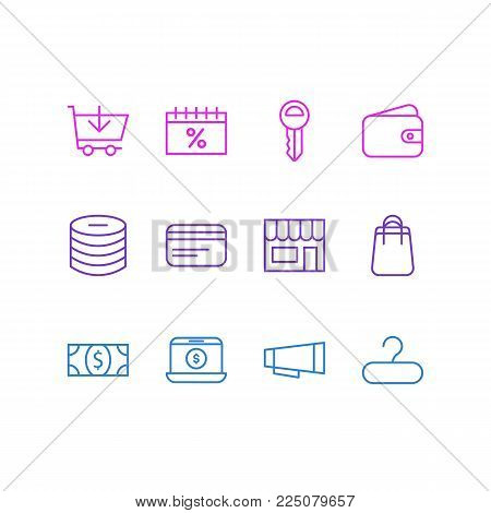 Vector illustration of 12 wholesale icons line style. Editable set of trading, shopping, clef and other icon elements.