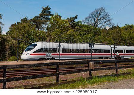 Vordingborg Denmark - May 3. 2014: Ice-td Train From Db And Dsb At The Platform At Vordingborg Train