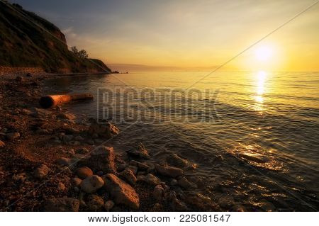 Beautiful landscape with driftwood, sea and sunset sky. Composition of nature