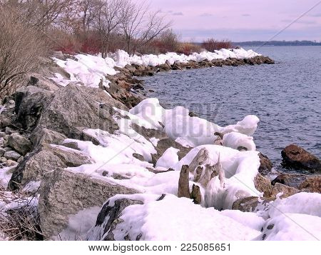 The view of winter shore of the Lake Ontario in Toronto, Canada, January 25, 2018