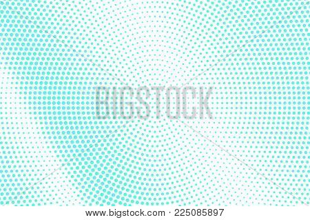 Blue White Dotted Halftone. Half Tone Vector Background. Smooth Diagonal Dotted Gradient. Abstract F
