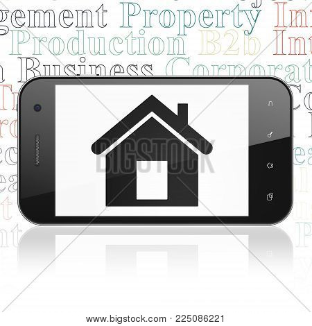 Business concept: Smartphone with  black Home icon on display,  Tag Cloud background, 3D rendering