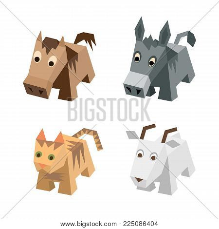 Vector set of different low poly isometric 3d animals. Isolated cute animals. Elements of geometric animals for 3d game. Icon collection of farm and home mammals: dog, cat, cow, pig, sheep, horse, goat