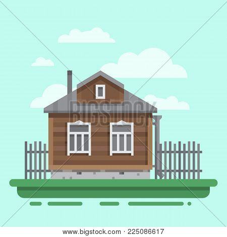 Country old brawn house with fence. Colorful village russian old house. Countryside colored wood house. Cute outback hut with decoration. Vector illustration art with blockhouse.