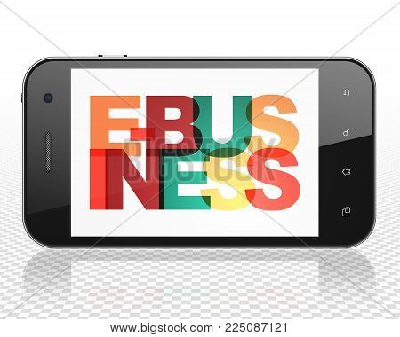 Finance concept: Smartphone with Painted multicolor text E-business on display, 3D rendering
