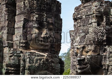 Closeup Stone Face Of Prasat Bayon Temple, Angkor Thom Cambodia