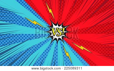 Comic versus colorful horizontal background with two opposite red and blue sides, lightnings, halftone, rays and radial effects. Vector illustration