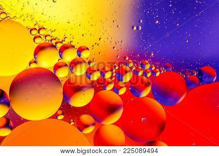 Space or planets universe cosmic abstract background. Abstract molecule atom sctructure. Water bubbles. Macro shot of air or molecule. Abstract space background. Biology, phycics or chymistry abstract background