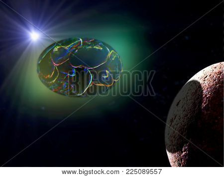 A combination of digital painting and photo manipulation depicting a giant egg orbiting a barren planet in deep space.