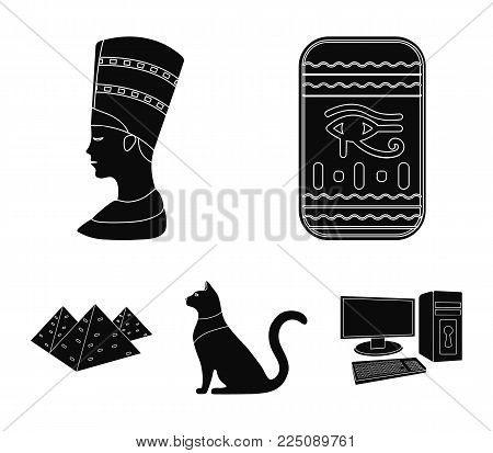 Eye of Horus, black Egyptian cat, pyramids, head of Nefertiti.Ancient Egypt set collection icons in black style vector symbol stock illustration .