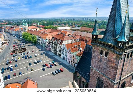 CZECH REPUBLIC, HRADEC KRALOVE - MAY 7, 2015: famous Great square with White tower, town hall, gothic Church of the Holy Spirit, historical town Hradec Kralove, Czech republic