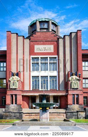 CZECH REPUBLIC, HRADEC KRALOVE - MAY 7, 2015: famous modernist Museum of East Bohemia by arch. J. Kotera, historical town Hradec Kralove, Czech republic