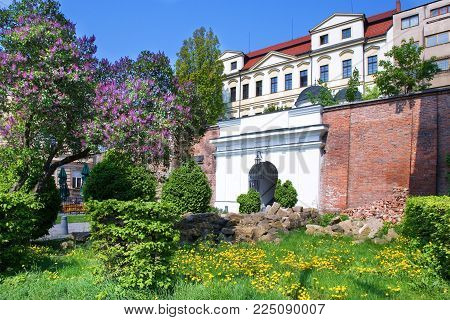 CZECH REPUBLIC, HRADEC KRALOVE - MAY 7, 2015: classicist style covered staircase Bono Publico, historical town Hradec Kralove, Czech republic