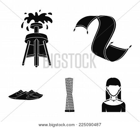 Persian carpet, dunes in the desert, Shanghai Tower, oil well.Arab emirates set collection icons in black style vector symbol stock illustration .