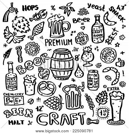 Craft beer hand drawn elements set. Outline black icons of craft beer things. Craft beer info graphics for your design. Home brewing, crafted beer. Black and white vector illustration art.