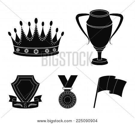 A silver cup, a gold crown with diamonds, a medal of the laureate, a gold sign with a red ribbon.Awards and trophies set collection icons in black style vector symbol stock illustration .
