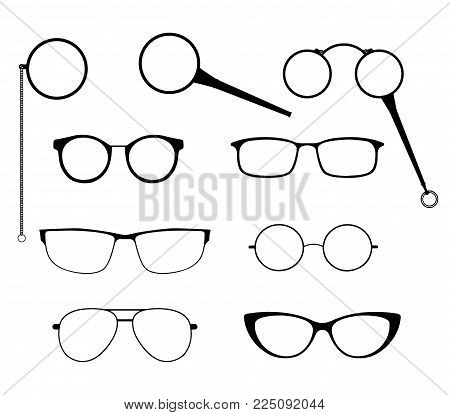 Glasses Silhouette Vector Set. Frames To Modern Sunglasses With Different Styles As Well As Vintage