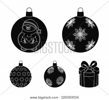 New Year's Toys black icons in set collection for design.Christmas balls for a treevector symbol stock illustration.