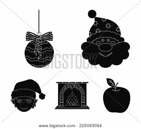 Santa Claus, dwarf, fireplace and decoration black icons in set collection for design. Christmas vector symbol stock  illustration.