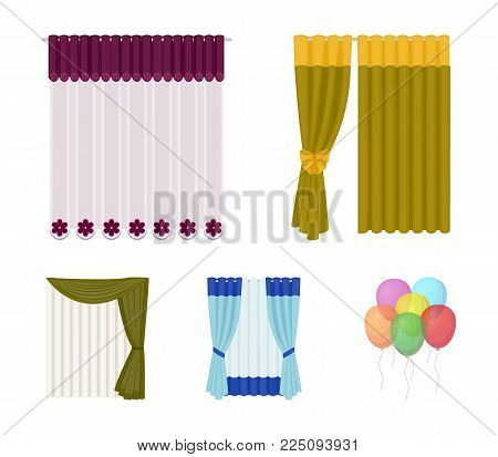 Curtains, drapes, garters, and other  icon in cartoon style. Textiles, furniture, bow icons in set collection.