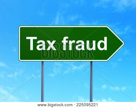 Law concept: Tax Fraud on green road highway sign, clear blue sky background, 3D rendering
