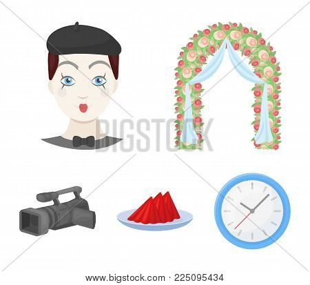 The arch is decorated with roses and silk, a clown in a cap, a plate with red napkins, a video camera. Event services set collection icons in cartoon style vector symbol stock illustration .