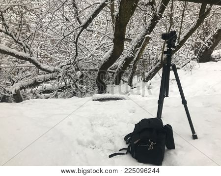 Camera on a tripod in the winter forest. Next to the camera bag for the camera.