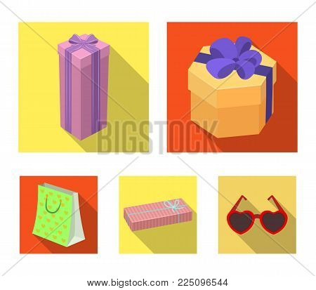 Gift box with bow, gift bag.Gifts and certificates set collection icons in flat style vector symbol stock illustration web.