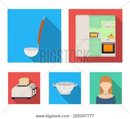 Kitchen equipment flat icons in set collection for design. Kitchen and accessories vector symbol stock  illustration.