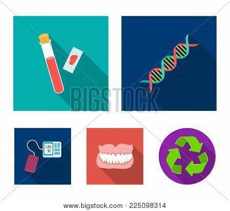 DNA code, blood test in vitro, denture, tonometer. Medicine set collection icons in flat style vector symbol stock illustration .