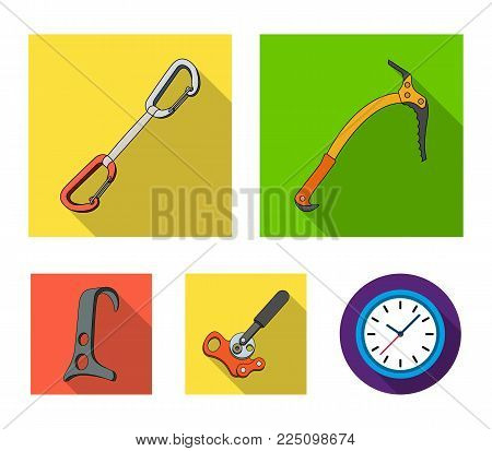 An ice ax, a carbine and other equipment.Mountaineering set collection icons in flat style vector symbol stock illustration .