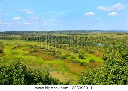 beautiful landscape on a river and a swamp from a bird's eye view