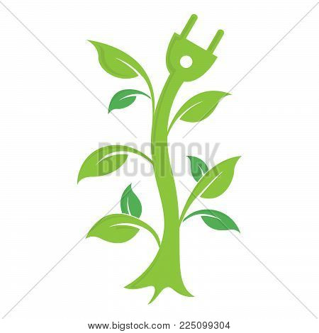 Abstract green leaf with electric plugs logo element vector design ecology symbol. Leaf logo shape icon and green leaf logo emblem. Ecology green leaf logo organic environment, tree leaf logotype. Eco green awareness