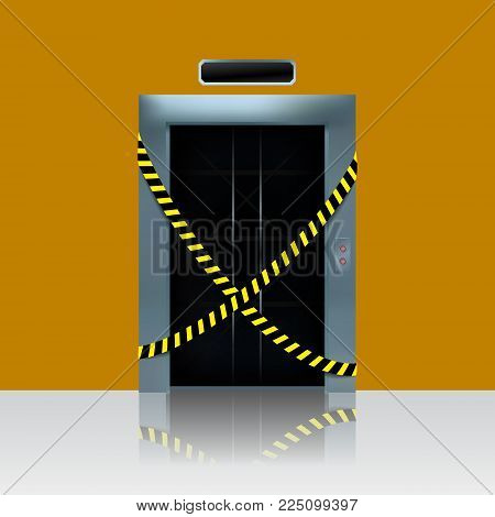 Broken out of order elevator. Vector illustration of ellevator shaft with caution ribbon
