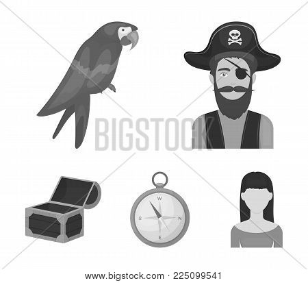 Pirate, bandit, hat, bandage .Pirates set collection icons in monochrome style vector symbol stock illustration .