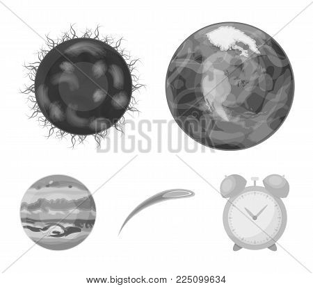 Earth, Jupiter, the Sun of the Planet of the Solar System. Asteroid, meteorite. Planets set collection icons in monochrome style vector symbol stock illustration .