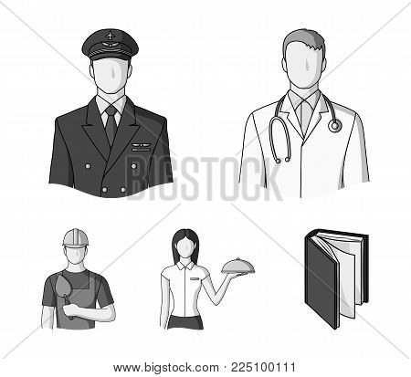 The doctor, the pilot, the waitress, the builder, the mason.Profession set collection icons in monochrome style vector symbol stock illustration .