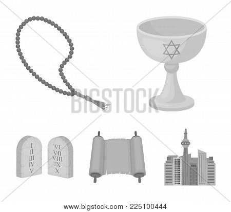 A cup of wine, Islamic beads, ten commandments, tanakh. Religion set collection icons in monochrome style vector symbol stock illustration .