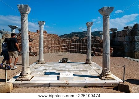 Selcuk, Turkey - September 29, 2014: Tomb Of Saint John In Ruins Of The Basilica Of St. John The Apo
