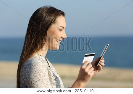 Side view portrait of a happy woman paying on line with credit card on the beach
