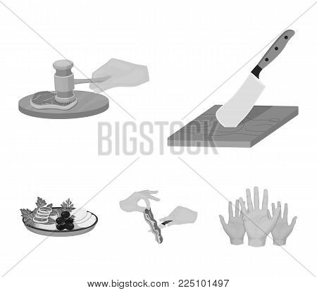 Cutlass on a cutting board, hammer for chops, cooking bacon, eating fish and vegetables. Eating and cooking set collection icons in monochrome style vector symbol stock illustration .
