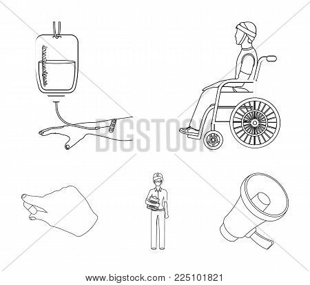 Invalid with trauma, blood transfusion, doctor, medication in the hands of a doctor. Medicineset collection icons in outline style vector symbol stock illustration .