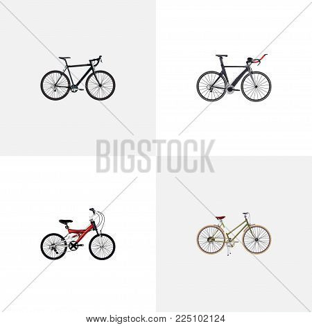 Set of bike realistic symbols with woman cycle, exercise riding, triathlon bike and other icons for your web mobile app logo design.
