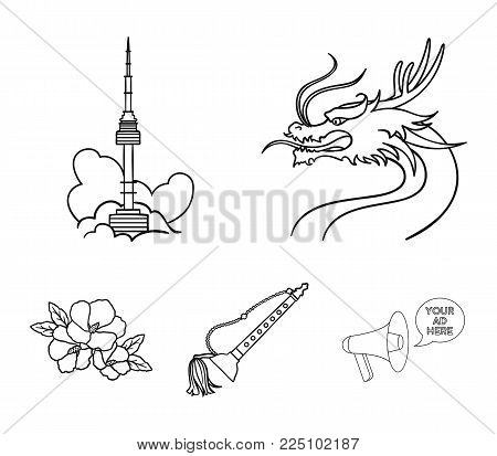 Dragon with mustache, Seoul tower, national musical instrument, hibiscus flower. South Korea set collection icons in outline style vector symbol stock illustration web.