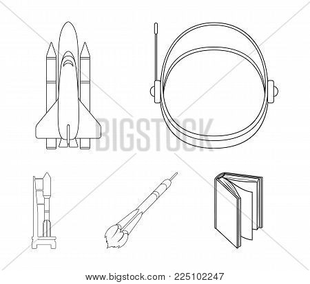 A spaceship in space, a cargo shuttle, A launch pad, an astronaut's helmet. Space technology set collection icons in outline style vector symbol stock illustration .