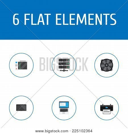 Set of laptop icons flat style symbols with notebook, printing machine, server and other icons for your web mobile app logo design.