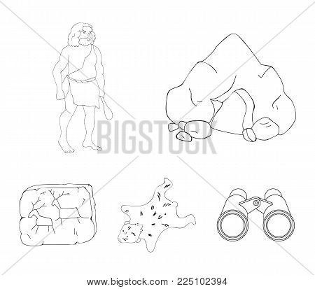 Ancient, world, stone age .Stone age set collection icons in outline style vector symbol stock illustration .