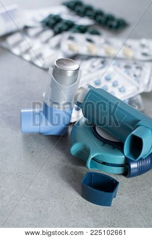 Pills And Inhalers For Asthma, Bronchitis, Lungs Diseases